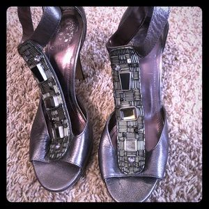 Vince Camuto Pewter stoned high heels
